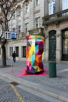 Colorful Geometric Street Art : Colorful Geometric Street ArtStreet artist Okuda San Miguel has created eccentrically colorful geometric street art pieces that explode with vibrant colors and are comprised of interesting shapes.