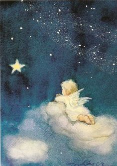 illustration by erica von kager I Believe In Angels, Angel Pictures, Angels Among Us, Angels In Heaven, Guardian Angels, Angel Art, Vintage Christmas Cards, Christmas Angels, Stars And Moon