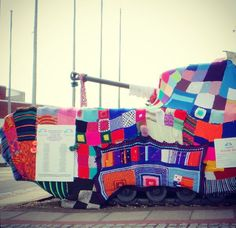Yarn bombed Tank by Feel Yourself Campaign and Earth Wool & Fire