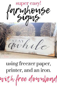 Farmhouse Wooden Signs Easily transfer ink from printer to wood to make your own farmhouse signs! DIY Home Decor & DIY Farmhouse Decor!Easily transfer ink from printer to wood to make your own farmhouse signs! DIY Home Decor & DIY Farmhouse Decor! Farmhouse Signs, Vintage Farmhouse, Farmhouse Decor, Farmhouse Style, Modern Farmhouse, Farmhouse Ideas, Diy Wood Signs, Wooden Kitchen Signs, Pallet Signs