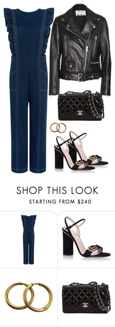 """""""Untitled #1846"""" by mmooa ❤ liked on Polyvore featuring Ganni, Gucci, Chanel and Acne Studios"""