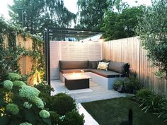 Patio and fire pit area for garden design in Barnes, Small Courtyard Gardens, Small Courtyards, Small Backyard Gardens, Backyard Patio, Backyard Landscaping, Outdoor Gardens, Landscaping Ideas, Small Garden Fire Pit, Back Garden Design
