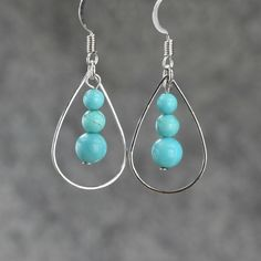 Turquoise tear drop Hoop Earrings Bridesmaids gifts Free US Shipping handmade Anni Designs by AnniDesignsllc on Etsy https://www.etsy.com/listing/128170383/turquoise-tear-drop-hoop-earrings