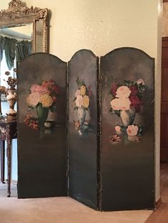 ~*ON SALE*~ SHABBY Roses Oil Painting On Canvas Dressing Screen RARE Chic 1920s | eBay Rose Oil Painting, Oil Painting On Canvas, Shabby Chic Cottage, Shabby Chic Decor, Paris Apartment Decor, Victorian Vases, Dressing Screen, Vase Arrangements, Hand Painted Canvas