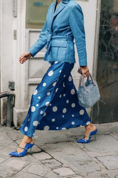 Paris Fashion Week Street Style - Blue Monochrome - Malone Souliers