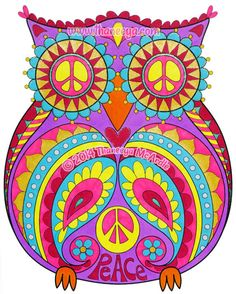 "Peace Owl from Thaneeya McArdle's ""Peace & Love Coloring Book"" http://www.amazon.com/gp/product/1574219634/ref=as_li_tl?ie=UTF8&camp=1789&creative=390957&creativeASIN=1574219634&linkCode=as2&tag=arisfu-20&linkId=FEAWDD335CNKLN5Y"