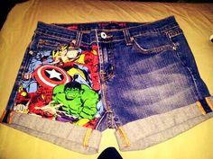 Marvel Avenger Shorts. $26.00, via Etsy. want these sooo much!!! maybe DIY?