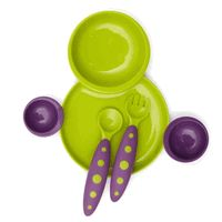 Boon 257 Groovy and Modware Interlocking Plate and Bowl Set with Utensils - Kiwi-Grape