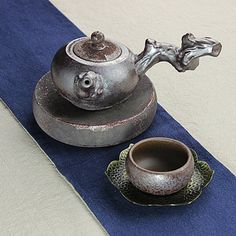 Handmade Ceramic Teapot with lovely sculpted tree branch handle. Brewing Pu-erh Tea Tea Ware. From China.