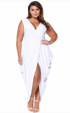 24585ba39b3 Women s  white sleeveless V neck  PlusSize maxi  dress in plain design