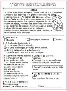Texto Informativo – Cobra | Sala de Aula – Profª Rérida