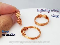 Copper Wire Jewelry, Wire Jewelry Designs, Handmade Wire Jewelry, Diy Jewelry With Wire, Make Jewelry, Copper Wire Crafts, Wire Jewelry Making, Wire Jewellery, Handmade Rings