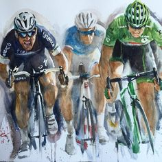 #TDF2015 stage 7 #Livarot to #Fougeres 190.6 km #royalsprinters. @markcavendish vs @andregreipel #powerhouse @letourdefrance @etixx_quick_step @lotto_soudal #watercolor on arches paper #dtai  #dtaiwatercolour #maxman #gorila #greenmachine @patricklefevere @ridemediahq @sprintcycling @l_actualite_du_cyclisme @bicyclingmag #waterblog