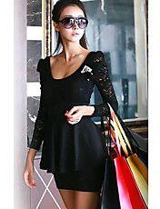 Women's Sexy Stitching Lace Mini Dress – USD $ 14.39
