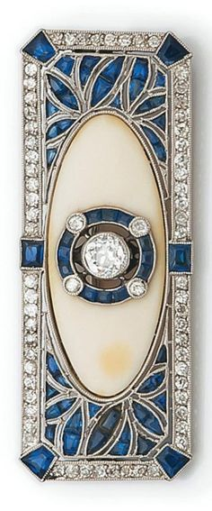 deco Rings An Art Deco platinum, diamond, ivory and sapphire brooch. An Art Deco platinum, diamond, ivory and sapphire brooch. Gems Jewelry, Sea Glass Jewelry, Jewelry Art, Antique Jewelry, Vintage Jewelry, Fine Jewelry, Jewelry Design, Jewelry Crafts, Women Jewelry