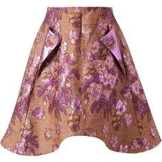 Vika Gazinskaya Wool-silk metallic floral brocade skirt (£960) ❤ liked on Polyvore featuring skirts, brown skirt, brown wool skirt, woolen skirt, floral printed skirt and brown silk skirt