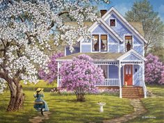 Lilacs and Lace - Country Kids Arte Country, Country Life, Cottage Art, Thomas Kinkade, Beautiful Paintings, Landscape Art, House Landscape, Landscape Pictures, Diy Painting