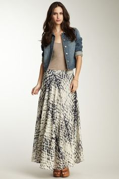 Cady Silk Blend Voil Maxi Skirt. Love the jean short jacket addition!!  very in style for fall