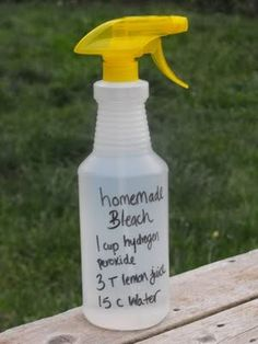 Homemade Bleach.. Ingredients: 1 cup hydrogen perioxide 2 Tablespoons lemon juice 15 cups of water  Mix together and store in a large jug. I pour mine into a smaller bottles for convenience. Since the peroxide will oxidize and eventually loose strength it's best to use the homemade bleach within a month.