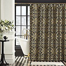 image of Bombay™ Sarto Polyester Shower Curtain in Black/Gold