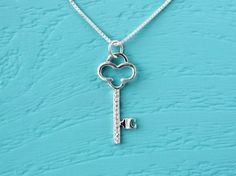 Silver key necklace 925 Sterling Silver key charm by SilverStamped