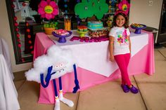 Trolls themed birthday party cloud guy singing flower main table