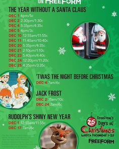 Freeform's 25 Days of Christmas  Catch the Classics on @freeformtv  #christmas #freeformtv #christmasmovies #yearwithoutasantaclaus #NightBeforeChristmas #jackfrost #rudolphsshinynewyear