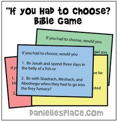 "Bible would you rather!"" Printable Bible Card Game for Groups - This Bible game is great for get-togethers, Sunday school, and special events. Youth Group Activities, Church Activities, Youth Groups, Therapy Activities, Bible Activities For Kids, Christian Youth Activities, Sunday School Activities, Sunday School Crafts, Youth Sunday School Lessons"