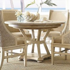 American Drew Americana Home Artisan's Round Table-Weathered White AD-114-701WR