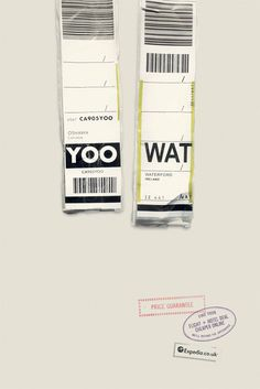 Expedia UK print advertising campaign by Ogilvy & Mather uses IATA airport codes to form clever, travel-related phrases. Logo and sub heading appear on the bottom left corner.