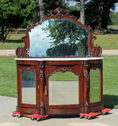 Fabulous Victorian Rosewood Marble Top Foyer Table Credenza with Mirrors c1860 #Victorian