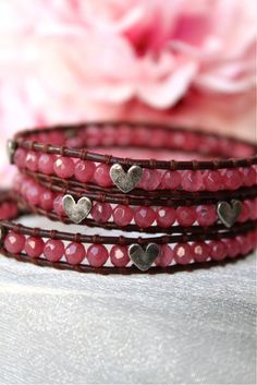 Wrap Bracelet - would look gorgeous with blue beads and metal charms, or green beads.
