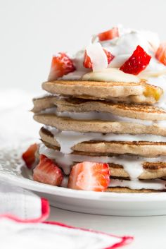 Easy Vegan and Gluten-Free Pancakes (Strawberry Shortcake w/ Whipped Cream)