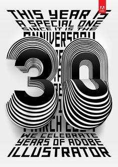 30 Years of Adobe Illustrator Art Print by Tina Touli Design - X-Small Inspiration Logo Design, Graphic Design Trends, Graphic Design Posters, Graphic Design Typography, Graphic Design Illustration, Illustration Art, Typo Design, Web Design, Book Design