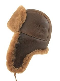 Zavelio Men's Shearling Sheepskin Aviator Russian Bomber Hat XX-Large Peach Brown >>> Click on the image for additional details.