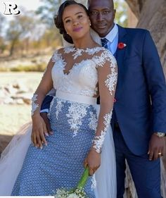 Top lace shweshwe dresses for a walk with their companions African Print Wedding Dress, African Wedding Attire, African Attire, African Wear Dresses, Latest African Fashion Dresses, Seshoeshoe Dresses, South African Traditional Dresses, Sesotho Traditional Dresses, Traditional Wedding Attire