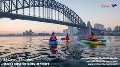 Kayak Australia Three people kayaking toward harbour bridge for Sydney by Kayak. Weekend stay in Sydney. Close to home. Kids - The best Sydney things to do, events, attractions, festivals and places to visit, all in one spot Australia Tours, Sydney Australia, Australia Travel, Cool Places To Visit, Places To Go, White Water Kayak, Kayaking Tips, Visit Sydney, Sydney City