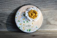 Grow Embroidery Hoop Vintage Fabric Floral Wall Art by LetterKay, $12.00