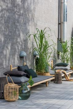 Modern grey and wood patio decor