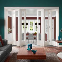 Freefold White Pattern 10 Style Folding 6 Door Set with Clear Glass, Height Interior Design Living Room, Home, Interior Windows, Living Room Door, Internal Glass Doors, Small Space Interior Design, Interior Design, Folding Doors Interior, Room
