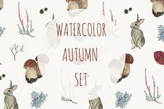 Watercolor autumn set by Alina Demchenko on @creativemarket