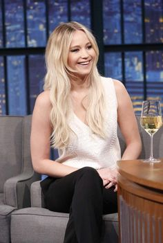 "Jennifer Lawrence at ""Late Night"" with Seth Meyers in New York, 2016."