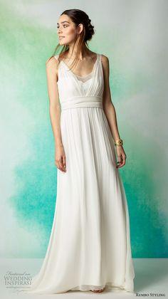 rembo styling 2017 bridal sleeveless v neck pleated draped grecian romantic modified a line wedding dress v back sweep train (ezra) mv
