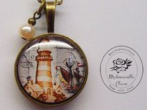 Halskette - Leuchtturm  - bronze Claire, Bronze, Etsy, Vintage, Lighthouse, Neck Chain, Handmade, Schmuck, Vintage Comics