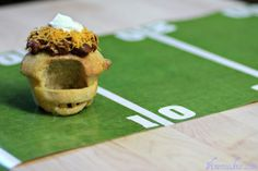 Savory pretzel cupcakes, that look like football helmets. They also happen to be mini soup bowls  #superbowl #football #patriots #giants #pretzel http://www.1finecookie.com/2012/02/savory-football-helmet-pretzel-cupcakes-or-pretzel-cups-whatever/