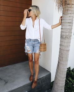 """short jeans and white shirt """"High summer #ootd"""""""