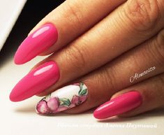 The Bold Pink Nail Art Design. Spring nail art is incomplete with flowers. So let's embellish our bold pink nails with the flowers deep in details and beautiful on gaze.