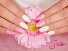 Special Day by Semilac: Semilac 003 Sweet Pink, 001Strong White, Stylograph Nail Art