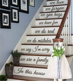FREE SHIPPING Wall Decal Quote We Are A Family In This House Staircase Stairway Stair Riser Decal Home Vinyl Sticker Living Room Decor kk480 wall decal quote staircase decor staircase decal stair quote decal family decor decals for stairs stair stickers stairs decal stair riser decal free shipping black Friday sale Black friday sticker cyber monday sale 29.99 USD #goriani