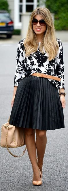 B&W Floral Top with Bright Black Accordion Pleat Midi A-skirt by Blonde Merry